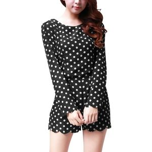 Allegra K black polka dots long sleeve romper M